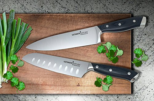 """Ultimate Kitchen™ Professional 8"""" Chef Knife & 7"""" Santoku Knife Set in Custom Knife Case – Corrosion Resistant Stainless Steel"""
