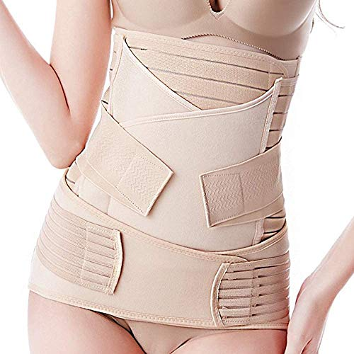 CURVEAR Women's Polyester 3 in 1 Postpartum Belly Support Band/Recovery Belly/Waist/Pelvis Belt, Breathable Post Pregnancy Belly Wrap Belt C-Section Recovery Shapewear (Skin_Large)