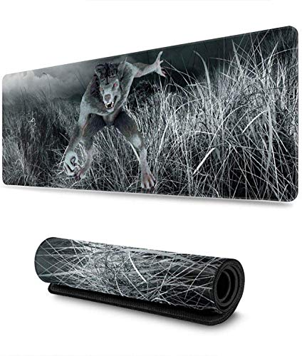 Werewolf Gaming Mouse Pad, Extended Mousepads with Superior Cloth Non-Slip Rubber Base, Computer Mat for Desktop for Office Dorm Computer Laptop Travel 31.5' x 11.8'