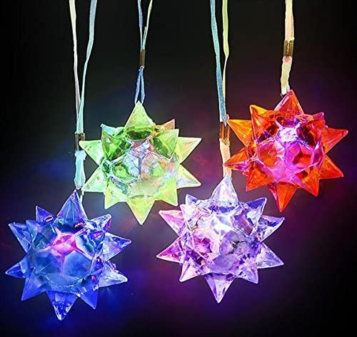 Hobby Trading Company Light up Crystal Star Necklace Pack of 24 Flashing led Blinking Glow Toy product image