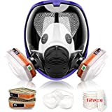 17 in 1 Face Respirator, Wide Field of View Full Face Lightweight Respirator Painting Spraying Decoration Woodworking Gas Respirator