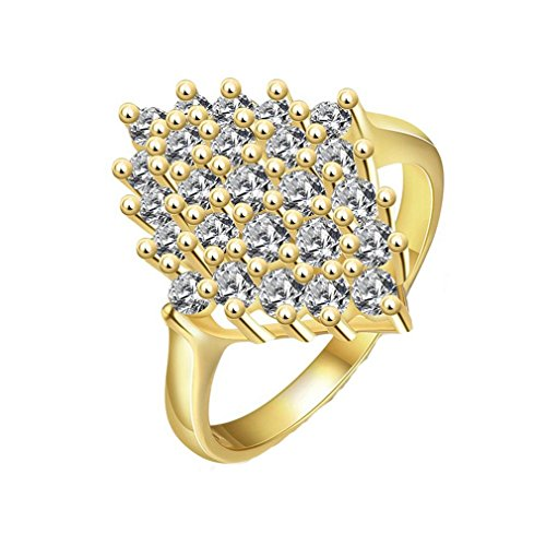 HFJ&YIE&H Moda Rhombus intarsio zircone bianco ottone dorato istruzione anelli femminile , 7
