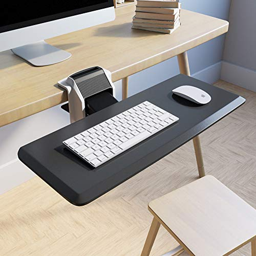 Saemoza Adjustable Keyboard Tray, Sturdy C Clamp Mount System Adjustable Height and Angle, Ergonomic Design Keyboard Tray for Long-Term Use and Fatigue Reduction(Black)