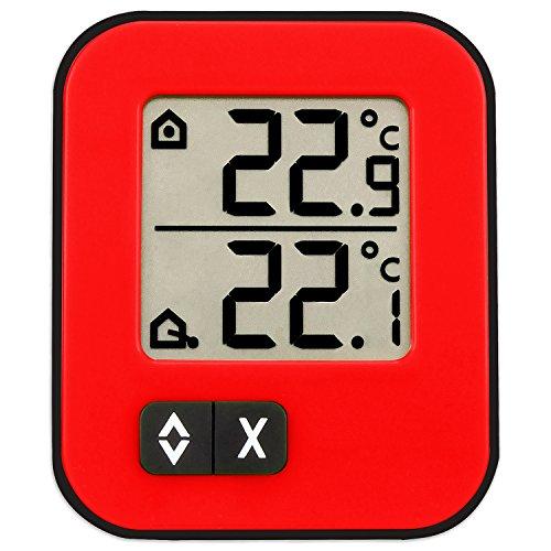TFA Dostmann Moxx Digitales Innen-Außen-Thermometer, Anzeige der Innen- und Außentemperatur, Höchst- und Tiefwerte, auch geeignet für Gefriergeräte/Aquarien