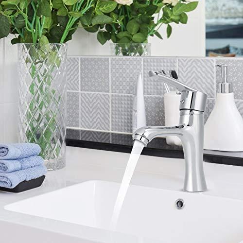 DSJSP Grifo mezclador de agua de acero inoxidable plata sentado instalación giratoria grifo para lavabo cocina baño