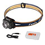 Fenix HL40R 600 Lumen Focusable Flood/Spotlight LED Rechargeable Headlamp with Lumen Tactical Battery & Cable Organizer (Gray)