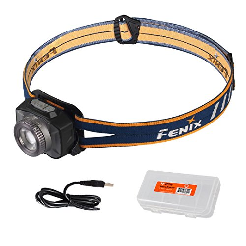 Fenix HL40R 600 Lumen Focusable Flood/Spotlight LED Rechargeable Headlamp with Lumen Tactical Battery & Cable Organizer (Gray)