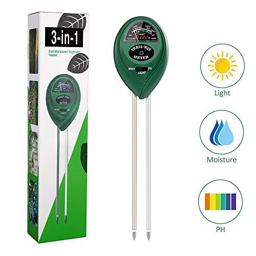 Soil PH Meter, Upgrade 3-in-1 Soil Teater Kit with Moisture, Light and PH Test, Gardening Tool Kit for Garden, Farm, Lawn, Plant, Indoor & Outdoor
