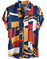 Mens New Casual Button Down Shirt,Contrast Color Geometric Printed Short Sleeve Loose Beach Work Shirts Blue