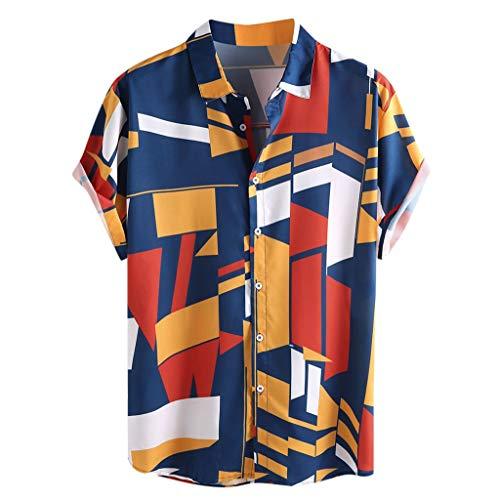 DOFENG Herren Casual T Shirt, Herren Sommer T Shirt Kurzarm Shirts Farbe Geometrie Drucken Tops Männer Tanks Weste Atmungsaktiv Hemden Lose Basic Umlegekragen