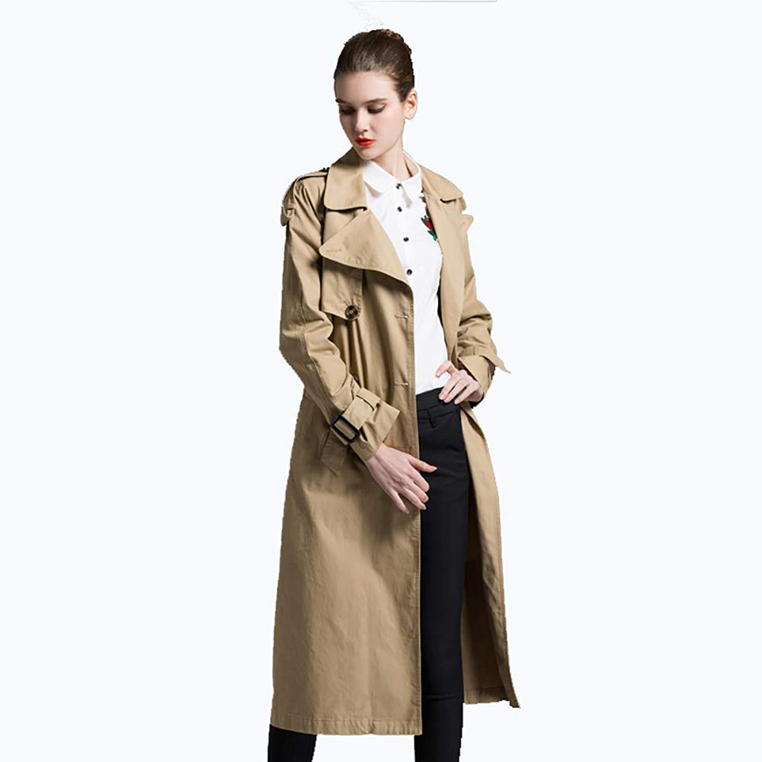 Women's Plus Size Double Breasted Long Trench Coat