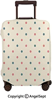 Travel Luggage Cover Spandex Suitcase,Traditional Polka Dots Pattern Retro Vibes European Culture Inspired Cream Slate Blue Coral,23.6x31.9inches,Protector Carry On Covers with Zipper
