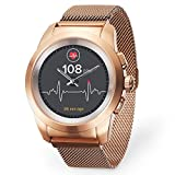 MyKronoz ZeTime-Elite-Reg Smartwatch Ibrido con Lancette Analogiche, Oro Rosa Spazzolato/Milanese