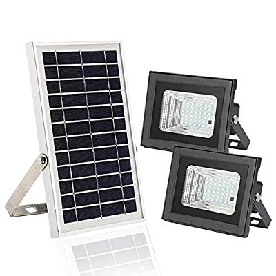 Solar Powered Flood Lights,HiJi Remote Control 6W Dual 42 LEDs Solar Flood Lights Outdoor,IP65 Waterproof Auto On/Off Dusk to Dawn Light for Business Sign,Back Yard, Lawn,Flag Pole,Patio