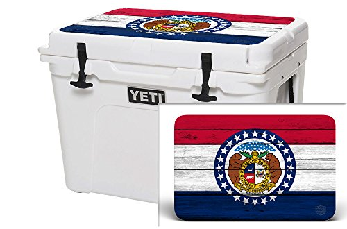USATuff Wrap (Cooler Not Included) - Lid Kit Fits YETI 50qt Tundra - Protective Custom Vinyl Decal - Missouri Flag Wood