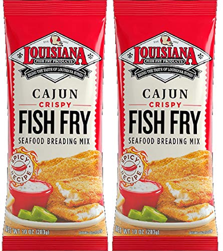Louisiana Fish Fry Products - Cajun Crispy Fish Fry and Seafood Breading Mix, 10 Ounce Bag (Pack of 2)