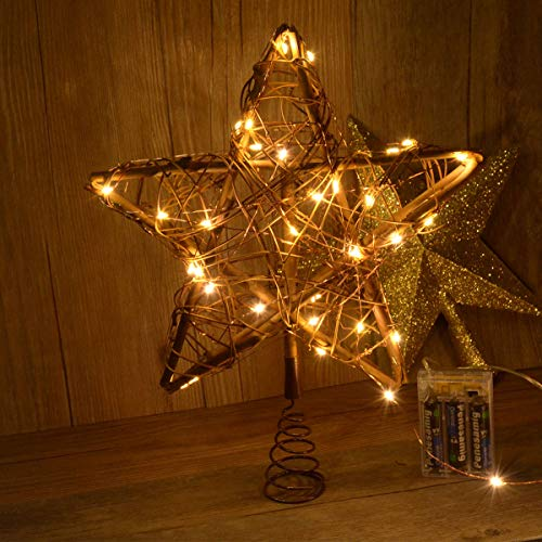 Awinking Christmas Star Tree Topper with 30 LED Warm White Copper Lights, Vintage Rattan Natural Christmas Decorations for Christmas Tree, Table, Fireplace