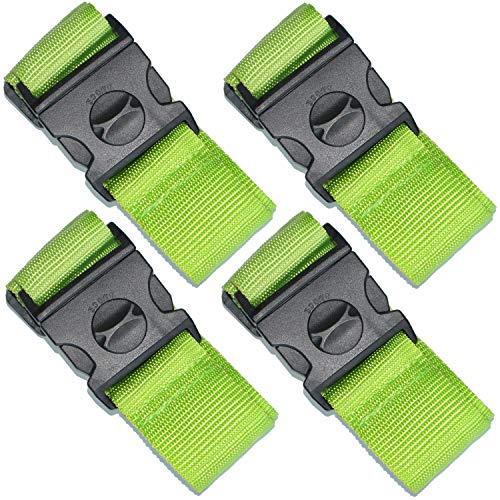 SEPOX 4-Pack Luggage Strap 69' Long Travel Packing Belt Suitcase Baggage Security Straps Safety Green Luggage Travel Accessories