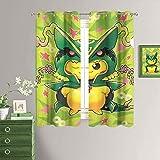 MRFSY Cortinas opacas con estampado de monstruo de anime de bolsillo con estampado de Pokémon, para dormitorio/sala de estar, aislamiento térmico, cortinas de ventana de 132 x 153 cm