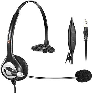 Arama 3.5mm ヘッドセット iPhone Sumsung LG HTC PCなど スマホマ対応 携帯電話用 高音質 有線 マイク付き ヘッドホン ボイスチャット、Skype、英会話 「片耳」