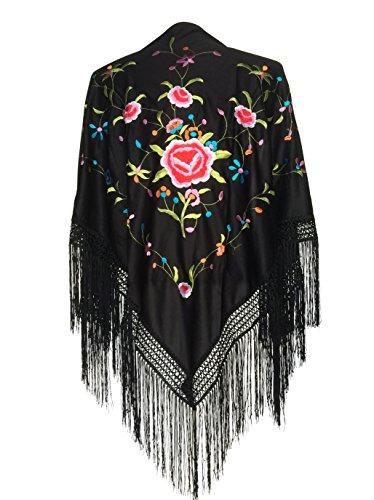 La Senorita Spanischer Manton/Tuch, schwarz mit verschiedenen Farben Blumen
