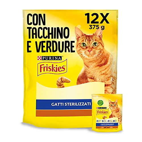 Purina Friskies Crocchette Gatto Sterilizzati con Tacchino e Verdure, 12 Confezioni da 375 g Ciascuna, Peso Totale 4,5 kg