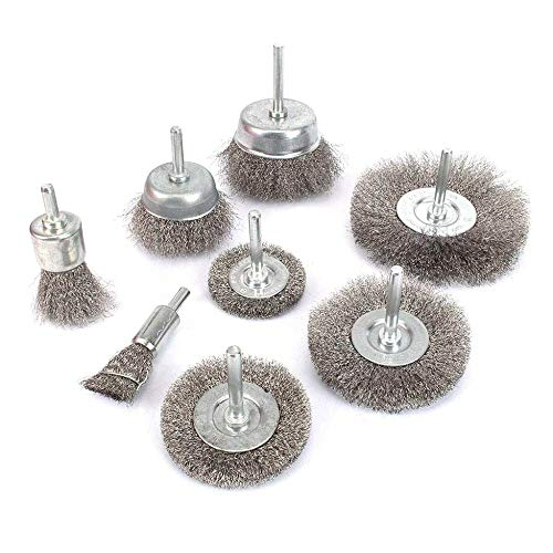 Dasorende 8Pcs Steel Wire Brushes Wheel Kit for Drill with 1/4 inch Shank 0.15mm