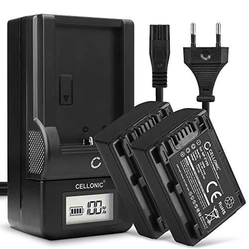CELLONIC 2X Batteria Premium Compatibile con Sony FDR-AX33 AX53 AX100e HDR-PJ810 PJ530 PJ330 PJ260 HDR-CX625 CX900 HDR-XR550 NEX-VG900 NP-FV70A NP-FV50A NP-FV90 NP-FV100A 650mAh + Caricabatteria accu