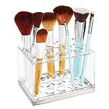 mDesign Práctico expositor de maquillaje – Decorativo organizador de cosméticos para máscara o labiales – Caja para guardar maquillaje con 15 compartimentos – transparente/plateado