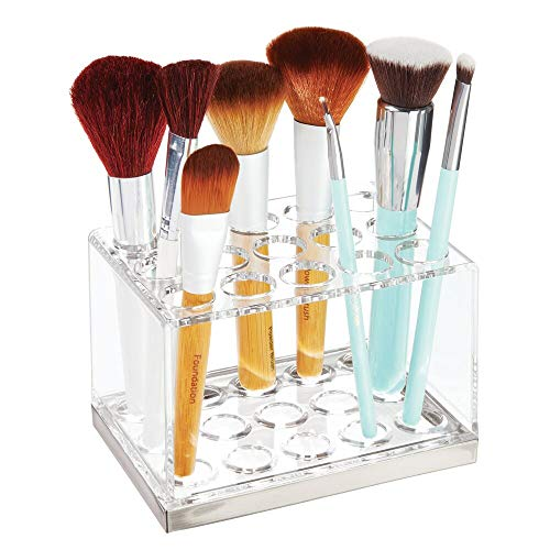 mDesign Plastic Makeup Brush Storage Organizer with 15 Slots for Bathroom Countertop, Vanity to Hold Eye/Lip Pencils, Lip Gloss, Liners, Lipstick - Clear/Brushed