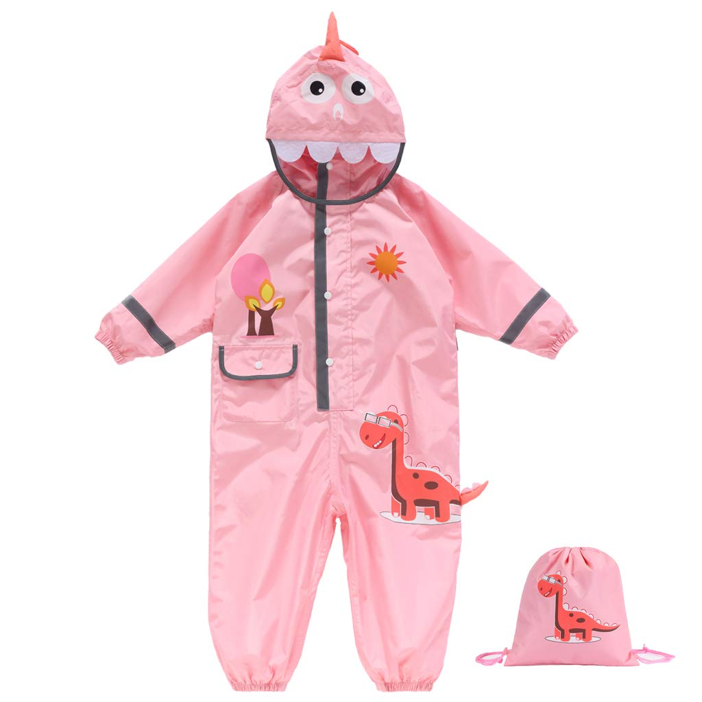 Kids Rain Suit One Piece Waterproof Reflective Coverall with Hood Toddler Rain Coat Pink 5-7 Years