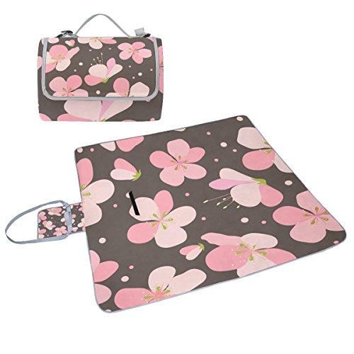 COOSUN Pink Cherry Blumen Picknick Decke Tote Handlich Matte Mehltau resistent und wasserfest Camping Matte für Picknicks, Strände, Wandern, Reisen, Rving und Ausflüge