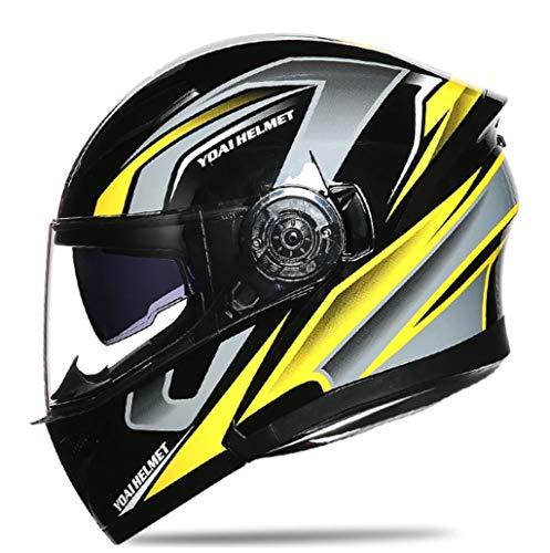 Casque De Moto Casque Intégra Modulable Flip La Compétence Double Lentille L Quatre Saisons Hommes Et Femmes Anti-Chute Respirant Yellow L