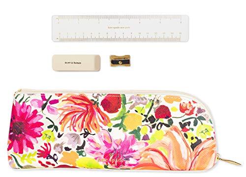 Kate Spade New York Floral Pen and Pencil Case, Zipper Pouch Organizer for Office/School Supplies, Dahlia