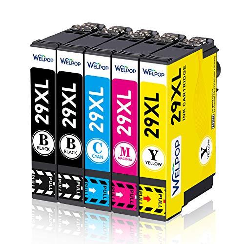 WELPOP 29XL - Cartuchos de tinta compatibles para Epson Expression Home XP-342 XP-245 XP-442 XP-235 XP-335 XP-432 XP-435 XP-332 XP-345 XP-247 XP-445 (5 unidades)