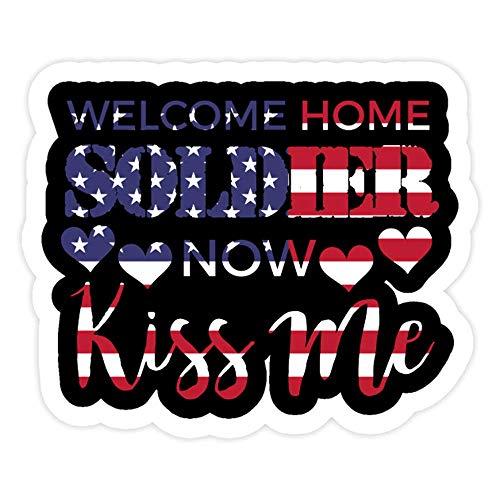 DKISEE 3 pegatinas para pared, diseño de bandera de Estados Unidos, con texto en inglés 'Welcome Home Soldier Now Kiss Me'