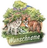 Samunshi® Wolf und Fuchs Wandtattoo Türschild mit Name personalisierbar Kinderzimmer Türaufkleber Baby Wandaufkleber 20 x 20cm Wolf und Fuchs