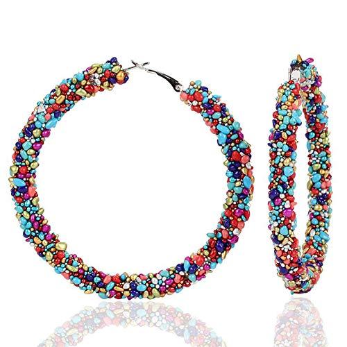 Winhappyhome - Orecchini a cerchio con pietre originali e Lega, colore: Multicolore