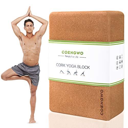 COENGWO Yoga Block Cork - 100% Natural Yoga Cork Brick Eco-Friendly Yoga Block for Yoga Support, Deepen Poses, Stretch, Meditation, 9x6x3 Inch, 1 Pack