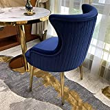 Yclty Esszimmerstühle aus Samt mit Ohrenlehne, Polsterstühle mit Armlehnen und Hoher Rückenlehne, Goldene Stahlbeine (Color : Dark Blue)
