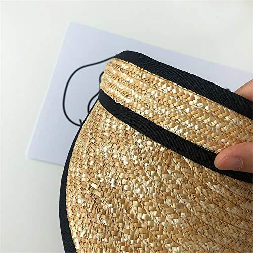 LTH-GD Gorro de invierno con visera ancha de paja con protección UV, para playa, estilo verano, para mujer (color: beige, talla: talla libre)