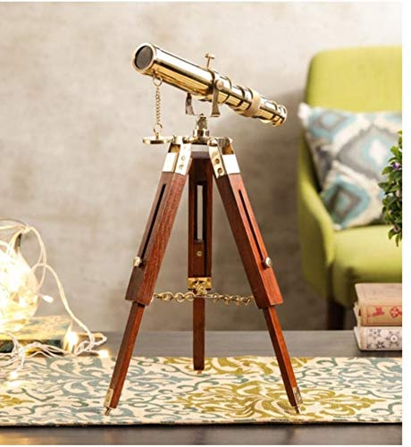 """UES Unique Treasure Brass Telescope with Antique Style Wooden Tripod (10"""" to extended 18"""")"""