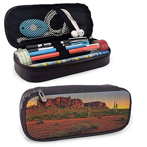 Saguaro Cactus Decor Collection Leather Carrying Case Colorful Sunset View of The Desert and Mountains Near Phoenix Arizona USA Image Zippered Pen Case for School, Work & Office Brown Green