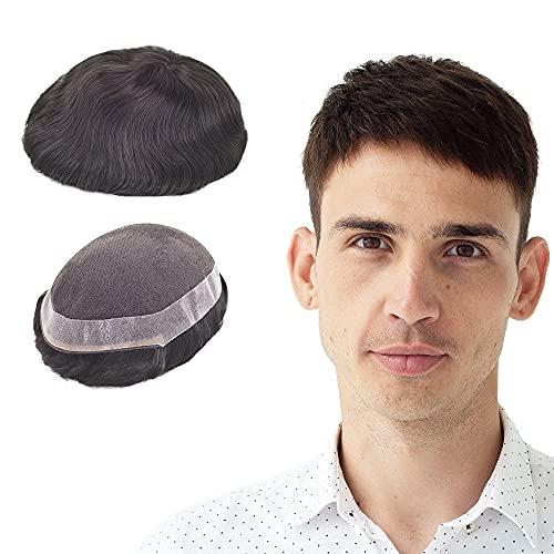 Lordhair Parrucca da uomo, Mono Sistema di Capelli in Pizzo con Sistema di Ricambio Nero per Parrucchino in PU (20x 23 cm)
