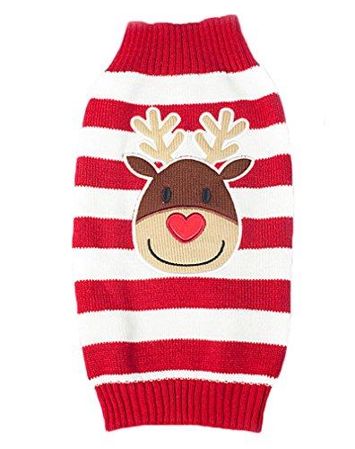 AIYUE Costume Natale Animale Domestico Vestiti Maglia Inverno Caldo per Cane Gatto Maglieria Maglione Tuta Dolcevita Stampato Alce Natalizio