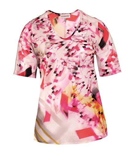 Chalou ? Tunika Shirt V-Ausschnitt Pink Baumwolle transparent Sommer Strand große Damen Größen Oberteil, Größe:50