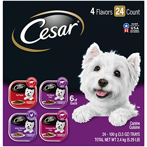 CESAR Soft Wet Dog Food Classic Loaf in Sauce Beef Recipe, Filet Mignon, Grilled Chicken and Porterhouse Steak Variety Pack, (24) 3.5 oz. Easy Peel...