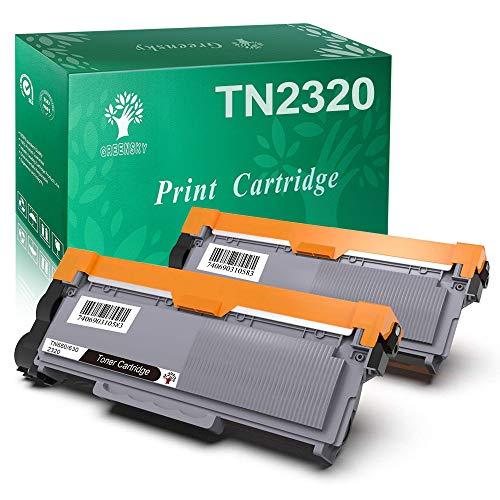 GREENSKY 2 confeziones Cartuccia Toner Compatibile Sostitutiva per Brother TN2320 TN2310 TN-2320 TN-2310 per Brother HL-L2300D HL-L2320D HL-L2340DW HL-L2360DN HL-L2360DW HL-L2365DW