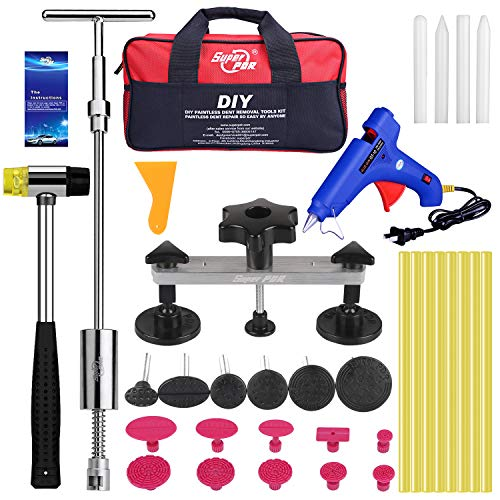 PDR Paintless Dent Repair Tools, Dent Removal Pullers with Hot Melt Gun, Dent Remover Tools for Car Body Dent Repair, Large & Small Ding Hail Dent Removal…