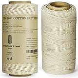 TJ.MOREE Cuerda de algodón de 3 capas, 100 m, 1 mm de grosor, apta para alimentos, para cocinar carne, cuerda para hornear, salchichas y decorar manualidades (blanco)